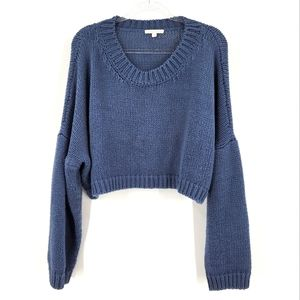 Dont Ask Why American Eagle Line Blue Balloon Dolman Sleeve Cropped Sweater 1X